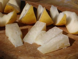 homemade cheese and pears