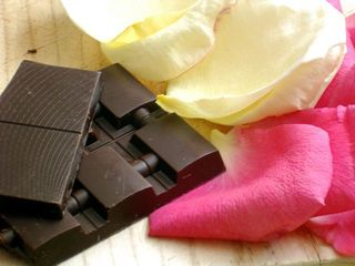chocolate and rose petals