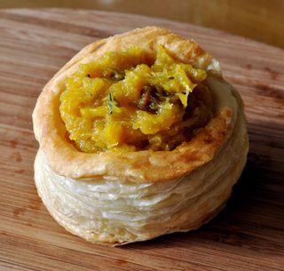 vol-au-vent filled with delicata squash