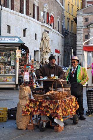 street seller of roasted chestnuts