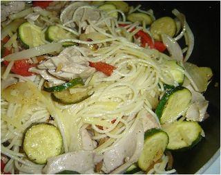 Ahi and veggies on pasta