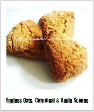 Eggless oats,cormeal & apple scones
