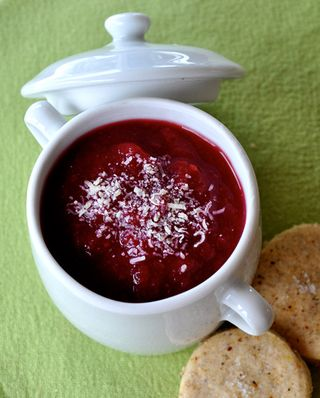 leek, red beet and celeriac soup