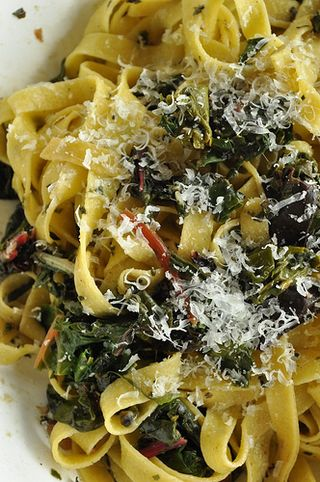 tagliatelle with chard and pecorino
