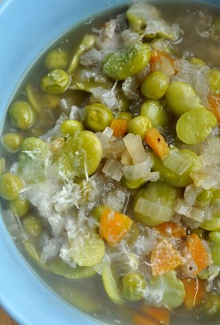 fava bean and pea soup