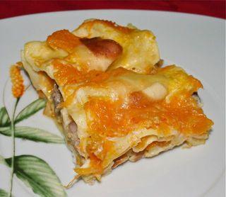 Lasagne di zucca e salsiccia.