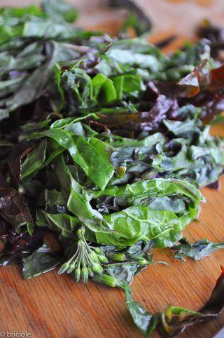 rainbow chard and kale chiffonade