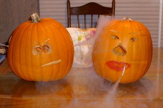 smoking carved pumpkins