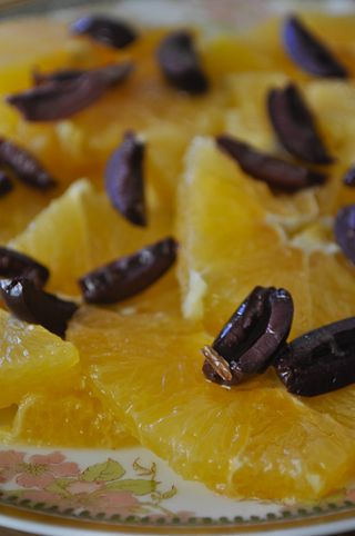 orange salad with black olives