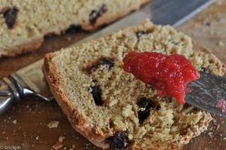Irish soda bread with plum jam