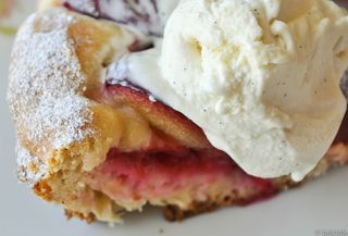 plum tart with vanilla ice cream