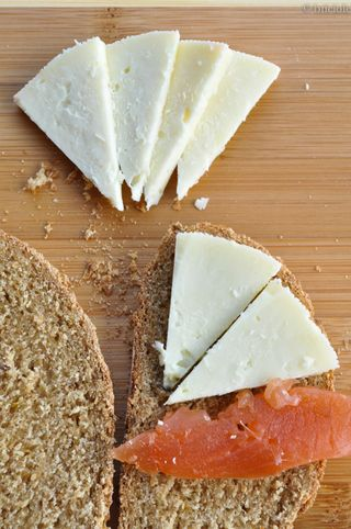 Swedish rye bread, gravlax and cheese