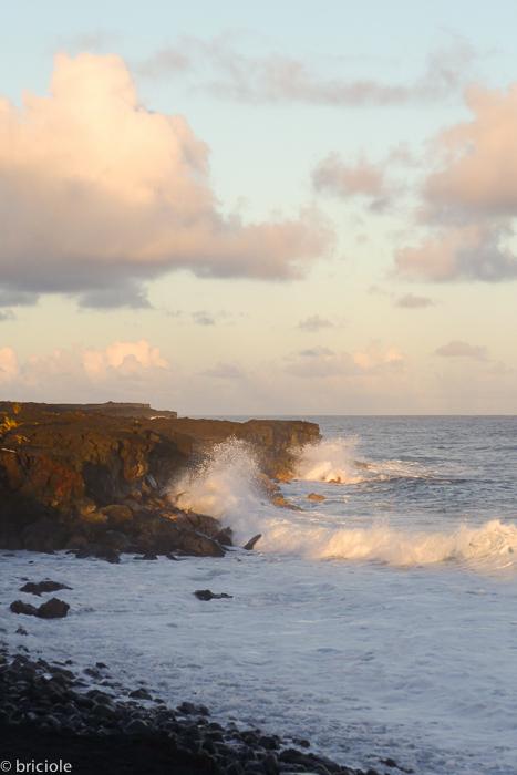 Kalapana coast at sunset