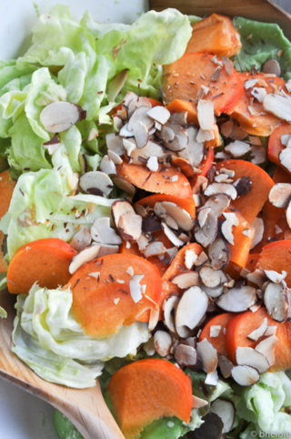 butter lettuce salad with persimmon, avocado and almonds