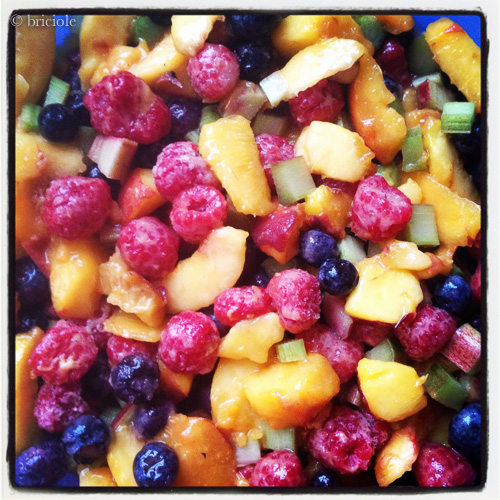 fruit for peach berry and rhubarb cobbler