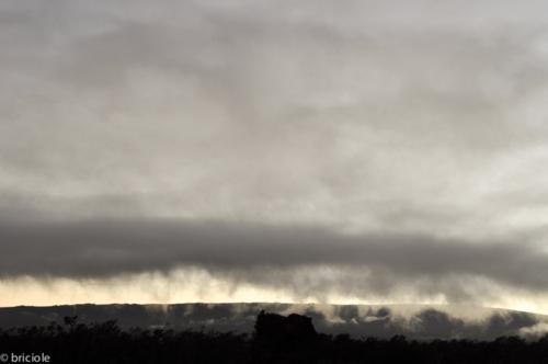 low clouds on lava field in Hawaii