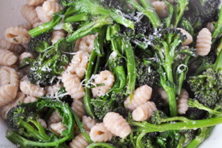 gnocchetti with purple sprouting broccoli