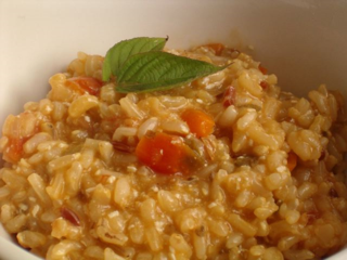 whole-grain risotto with tomato and sage