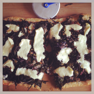 savory tart with baby kale and crescenza