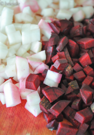 diced turnips and red beets