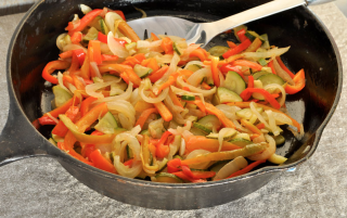 sweet peppers with onion and zucchini
