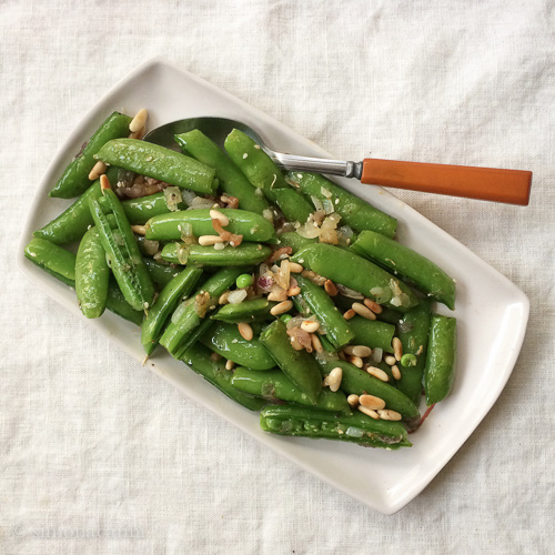 sugar snap peas with pancetta and pine nuts / IMG_1008