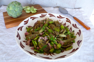 artichokes, fava beans and sausage