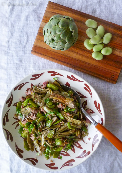 artichokes, fava beans and sausage / IMG_1894