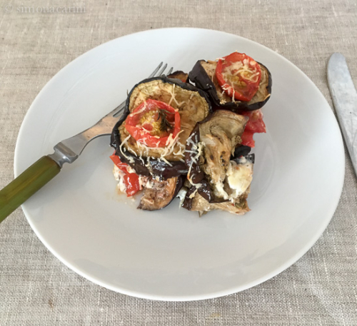 roasted eggplant and tomatoes with cheese / IMG_3927